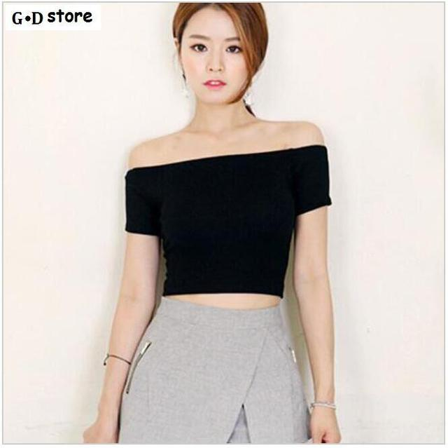 1abba80427f8 2017 Summer Fashion Sexy Off The Shoulder crop Tops For Women Casual Short  Sleeve Cotton T-shirts Street Ladies Slash Neck Top