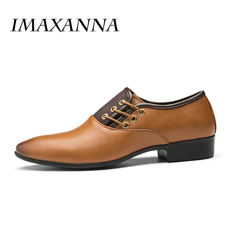 IMAXANNA Spring Autumn New Men Formal Wedding Shoes Luxury Men Business Dress Shoes Men Loafers Pointy Shoes Big Size 38-48