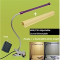 90-265V adapter /5V USB ,50% ,100% 2 level dimming,warm white ,white change desk lamp ,led clip lamp,6W  flexible tube lamp