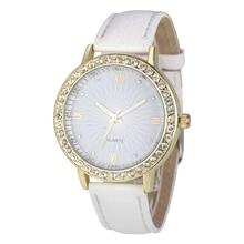 Fashion Women's Diamond Leather Analog Quartz Wrist Watches Color: White