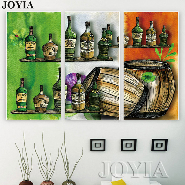 Vintage Wall Decor Canvas Art Wine Cellar Printed Paintings Color ...