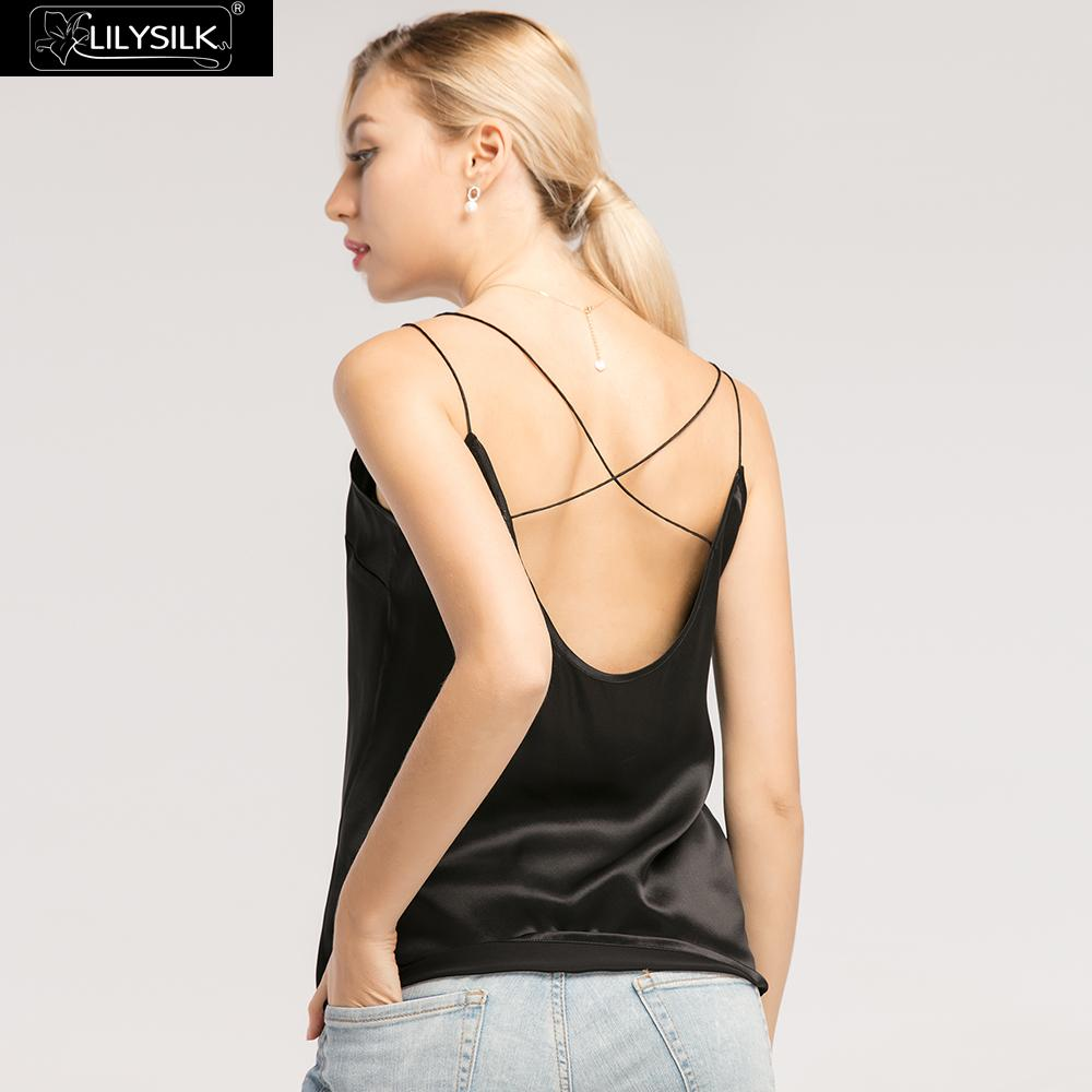 LilySilk Camisole Top Pure Silk for Women Crop Tank Vest Short Lady Luxury Tops Sexy V