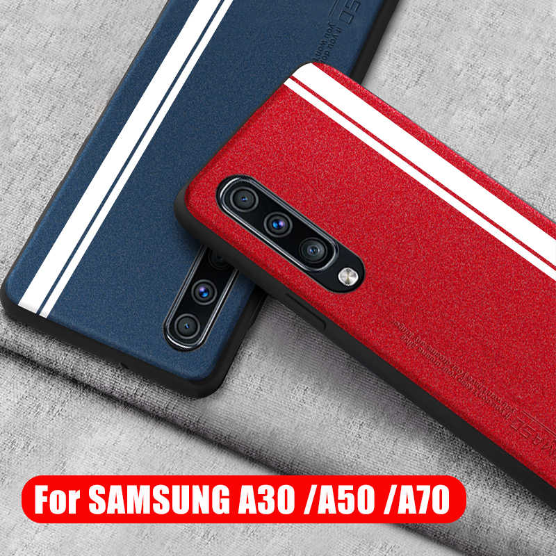 For Samsung A50 Case Luxury Leather Silicone Soft Edge Protect Back Cover for Samsung Galaxy A30 A50 A70 Case Shockproof Cover