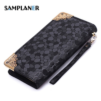 New Fashion Stone Pattern Lady Long Wallet Female Zipper Long 2017 Walet Gold And Silver Color