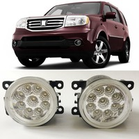 Car Styling For Honda Pilot 2012 2013 2014 2015 9 Pieces Leds Chips LED Fog Light Lamp H11 H8 12V 55W Halogen Fog Lights
