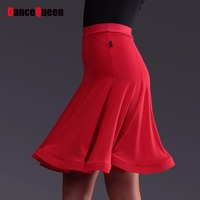 New Arrival Lady Latin Dance Skirt 1Piece No Top Ice Silk Black Red White Cha Cha