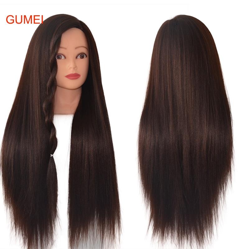 100% высокотемпературная волосяная модель темно-коричневых волос тренировочная головка для тренировки оплетки манекены из толстых волос ма...