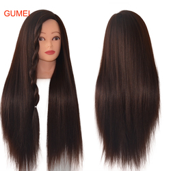 100%High Temperature Fiber Dark Brown Hair Model Training Head To Practice Braid Maniqui Thick Hair Mannequins Hairdressing Head