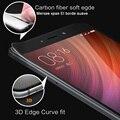 Redmi note 4 3d curva suave borde de fibra de carbono completa cobertura sceen nota4 templado vidrio de la pantalla protector de la película del pe para xiaomi redmi