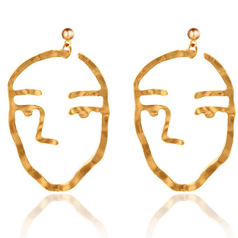 Абстрактного искусства серьги золотые Цвет лицо заявление Длинные висячие серьги модная одежда для девочек тенденция кисточкой серьги для Для женщин Bijoux