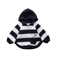 Модный детский свитер на весну и осень, свитер в полоску с капюшоном для маленьких девочек, детский Модный милый свитер с рукавами «летучая мышь»