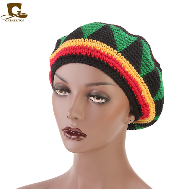 c0897bafcaf New Casual Men Women Rasta Hat Fancy Dress Party Hippie Handmade Beret Wig  Jamaican Bob Marley Knit Reggae Hat