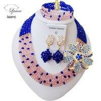 Delikatne urocze zroszony biżuteria royal blue peach kobiety nigeryjczyk afrykańskie koraliki biżuteria ślubna zestaw ABC1022