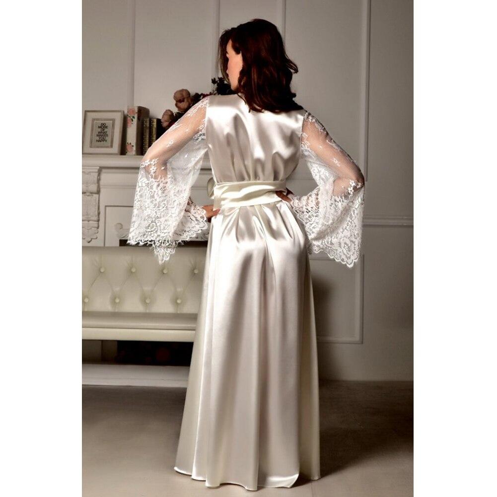 HTB1W0UzcvWG3KVjSZPcq6zkbXXaS 4 Colors Womens Solid Silk Satin Robe Sexy Lace Nightgown Pajamas Sleepwear Kimono Babydoll Dress XL