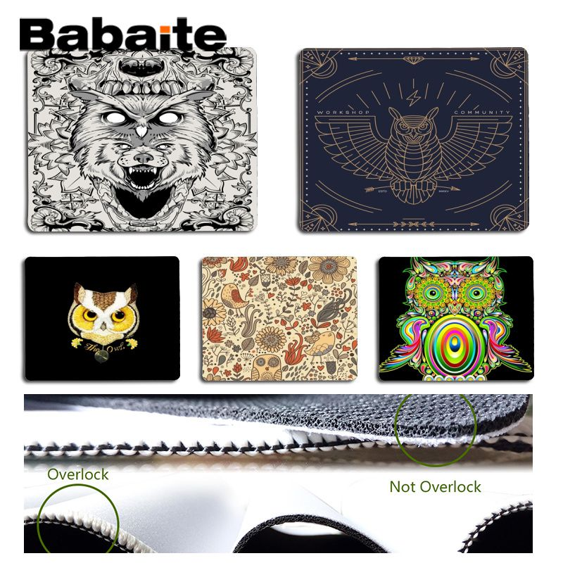Babaite New Design Cute and cool Owl Clip Art Silicone Pad to Mouse Game Size for 18x22cm 25x29cm Rubber Mousemats