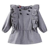 2017 Female Baby Woolen Sleeve Dress Grey Woolen Fly Winter Coat Girl