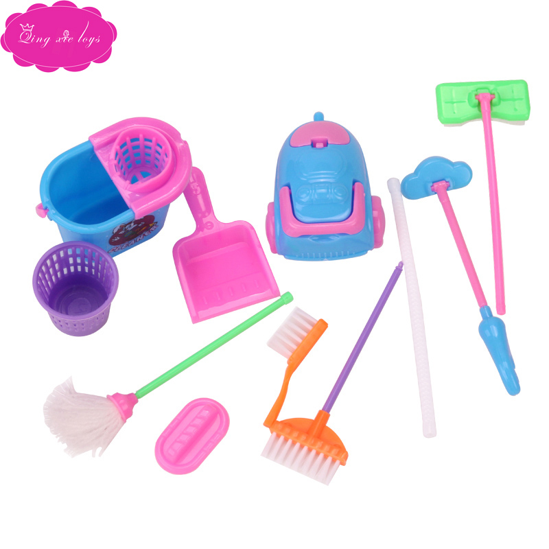 Dolls Miniature Dollhouse Cleaning Brush American Babie Girl Toys Accessories Mop, Broom, Dustbin, Vacuum Cleaner Q15