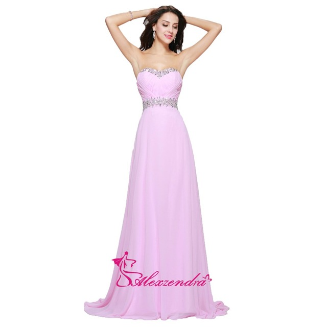 Alexzendra Pink Beaded Pleats Chiffon Cheap Prom Dresses Plus Size