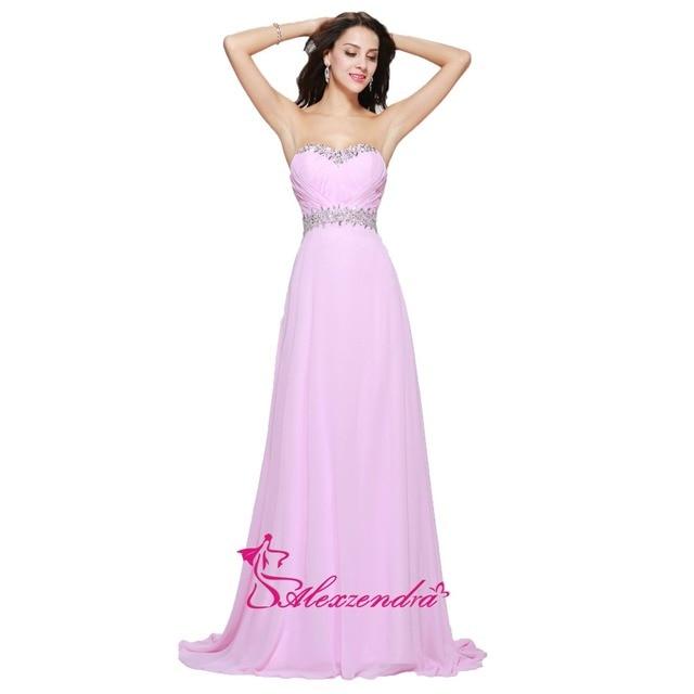 Alexzendra Pink Beaded Pleats Chiffon Cheap Prom Dresses Plus Size ...