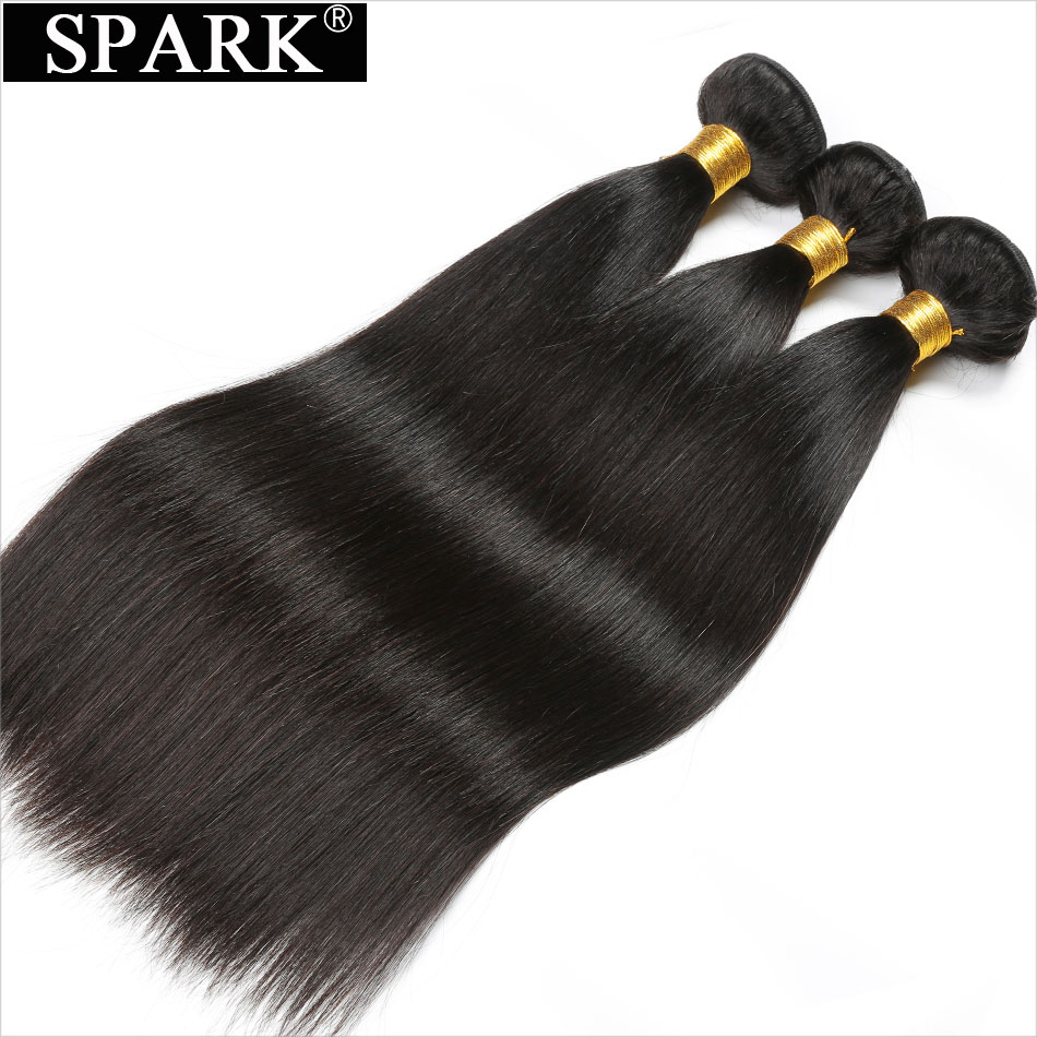 Spark Malaysian Virgin Hair Straight 3 Bundles Deal 100% Unprocessed Human Hair Weave 8-32 inches Dyeable&Bleachable Extensions