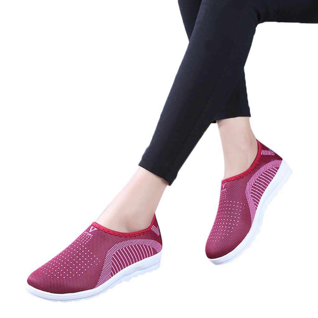 Chaussures automne maille plate avec mocassins grande taille coton femmes appartements décontracté marche rayure baskets pour femme tênis feminino @ py