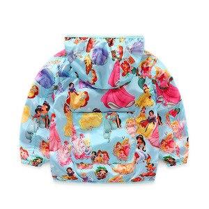 Image 2 - 2020 جاكت مزود بغطاء للرأس للبنات ملابس خارجية للأطفال خريف الأميرة معطف الطفل سترة واقية ملابس الأطفال الوردي زي جديد