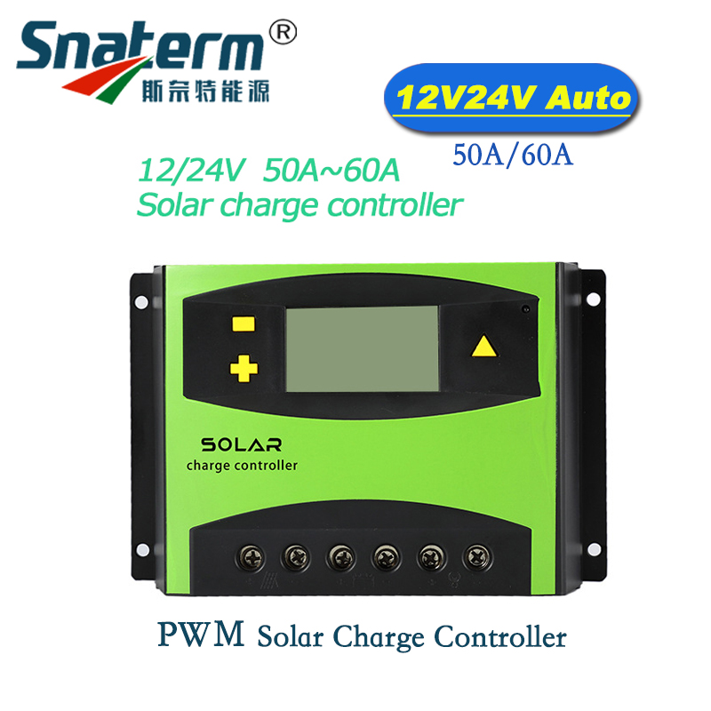 DC 12V24V Automatic Recognition LCD 60A 50Amps Solar PV Charge Controller Solar Panel Battery Charger Regulator