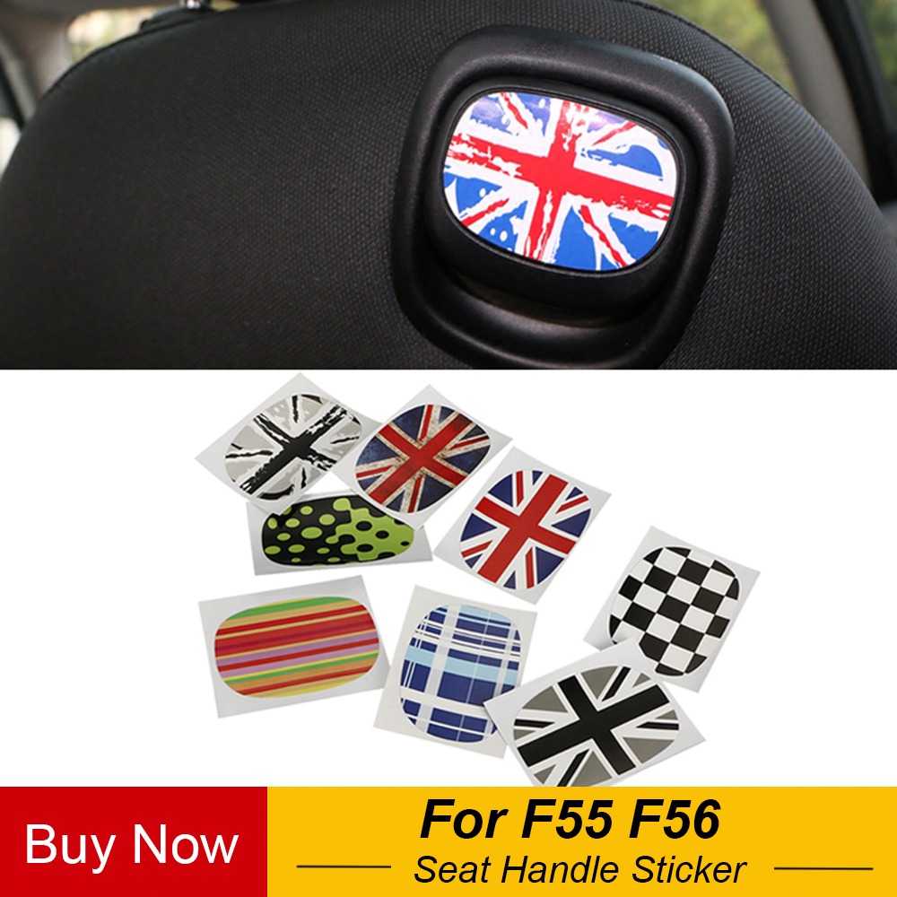 2PCS/Lot Interior Decor Rear Seat Handle Decal Cover Sticker Protective Trim For Mini Cooper F55 F56 Car Styling Accessories