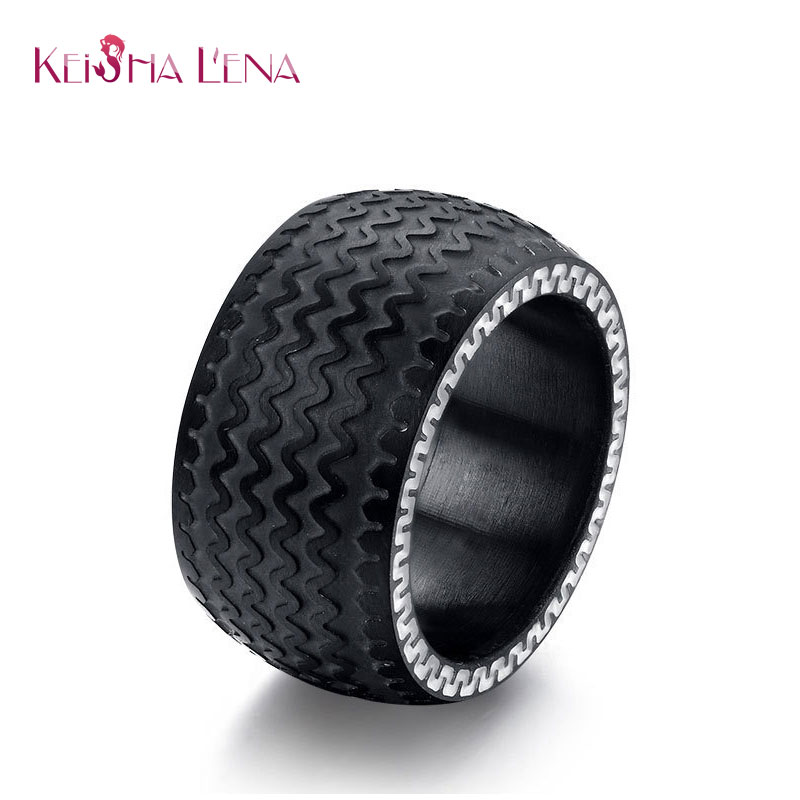 keisha lena cool men rings jewelry stainless steel wedding rings with black color tire design wholesale - Tire Wedding Rings