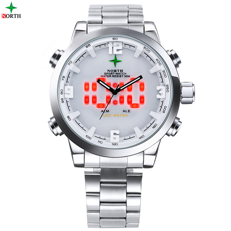 NORTH Mens Sports Watches Waterproof Wristwatch Digital Led Military Watch Men Analog Quartz Clock Male Fashion LED Men Watches 2014 new arrival fashion men sports dual movement analog watches military quartz luxury fashion brand led watch 30m waterproofed oversize wristwatch red