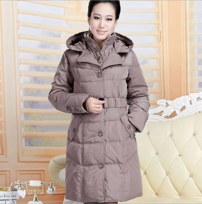 Women Winter Thickening Warm Hooded   Down   Jacket Windproof Waterproof Plus Size 3XL 4XL White Duck   Down     Coat   For Mother A2275