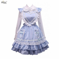 Middle Long Dress Ainclu Womens Cotton White Lolita Blouse And Blue Sweet Lolita Skirt for Spring/Summer/Autumn and Winter