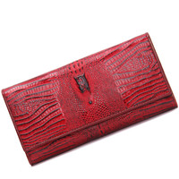 CONTACT S Top Brand Genuine Leather Women Wallets Ladies Purses Alligator Long Clutch Wallets Fashion Purses