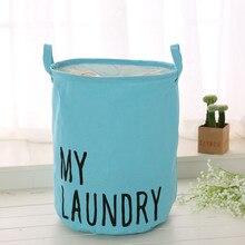 Colorful Organizer Cotton Linen Waterproof Home Storage Bag Fabric Hamper Debris Box Laundry Storage Basket 2019 Hot Sale