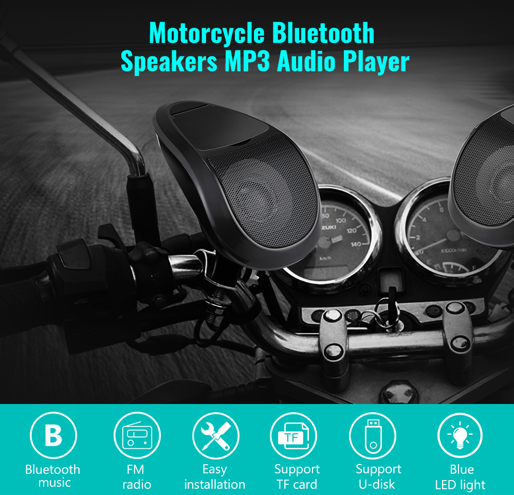 12V 2PCS MT493 Motorcycle Audio Portable Stereo Bluetooth Speakers Waterproof LED Light MP3 Player FM Radio Tuner