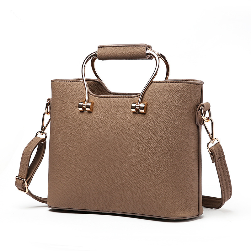 Elegant PU Women Handbag Office Lady Clutch Tote High Quality Metal Handle Khaki Crossbody