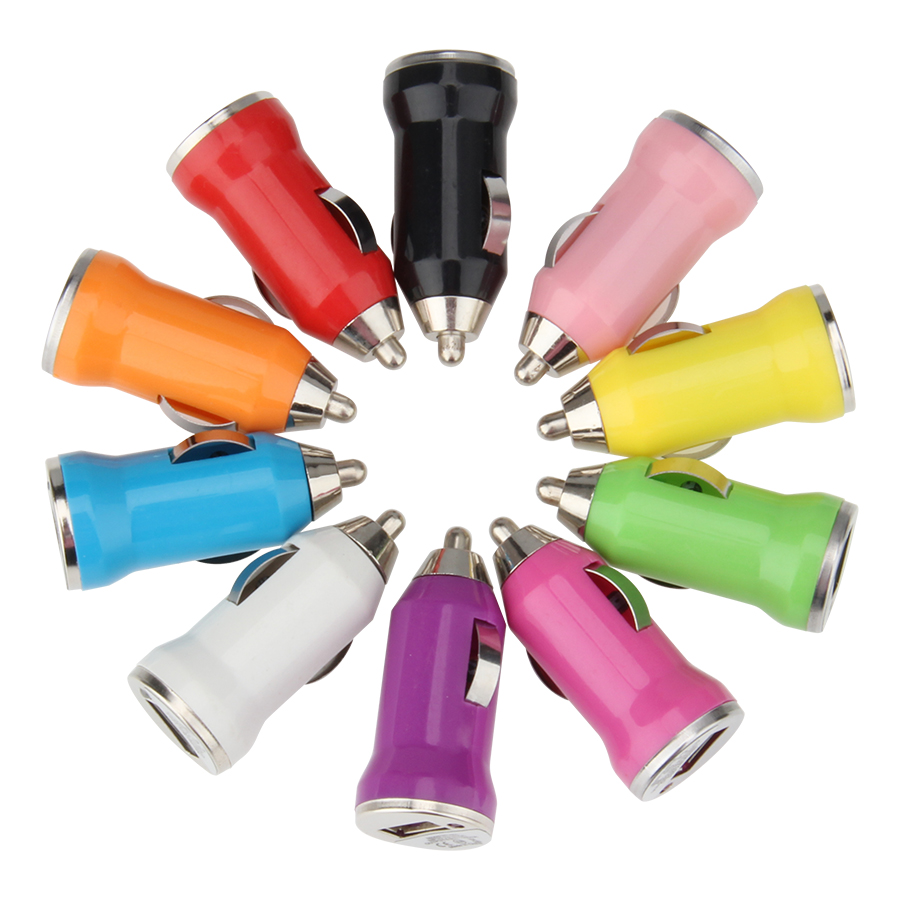 Classic Mini Single USB Car Charger with IC Protection Multi Color 5V 1A 1 Port Ultra