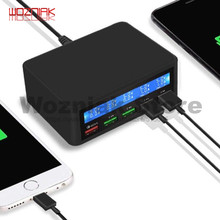 5 USB للهاتف المحمول شاحن في الوقت الحقيقي ديناميكية ذكي شاشة ديجيتال LCD الاعتراف التلقائي للشحن السريع QC3.0