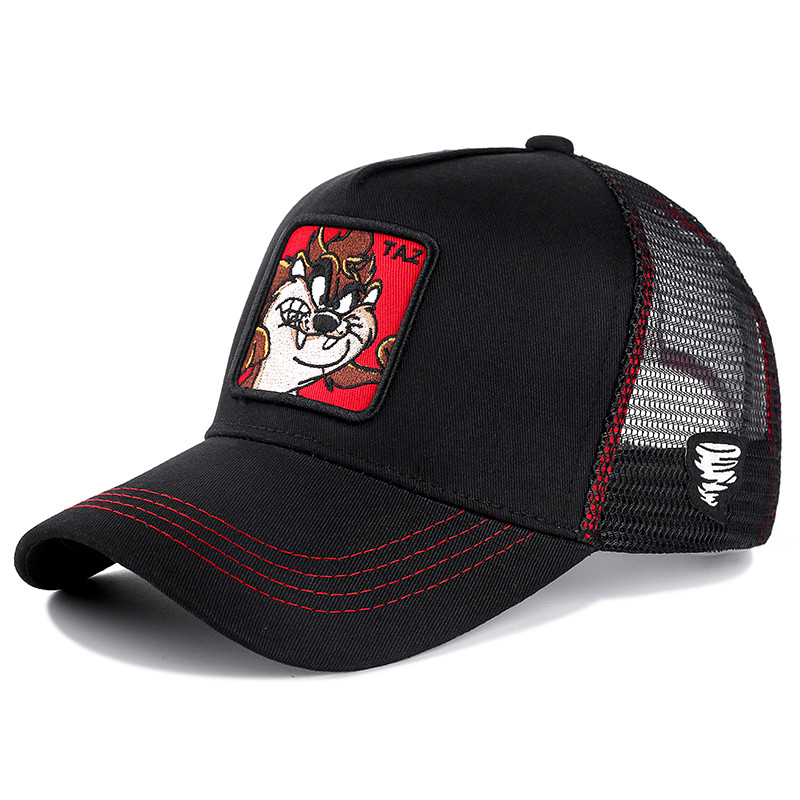 New Summer Mesh   Cap   Anime Cartoon Snapback Animal TAZ Embroidered Drawing   Baseball     Cap   For Women Men Truck Driver Hat
