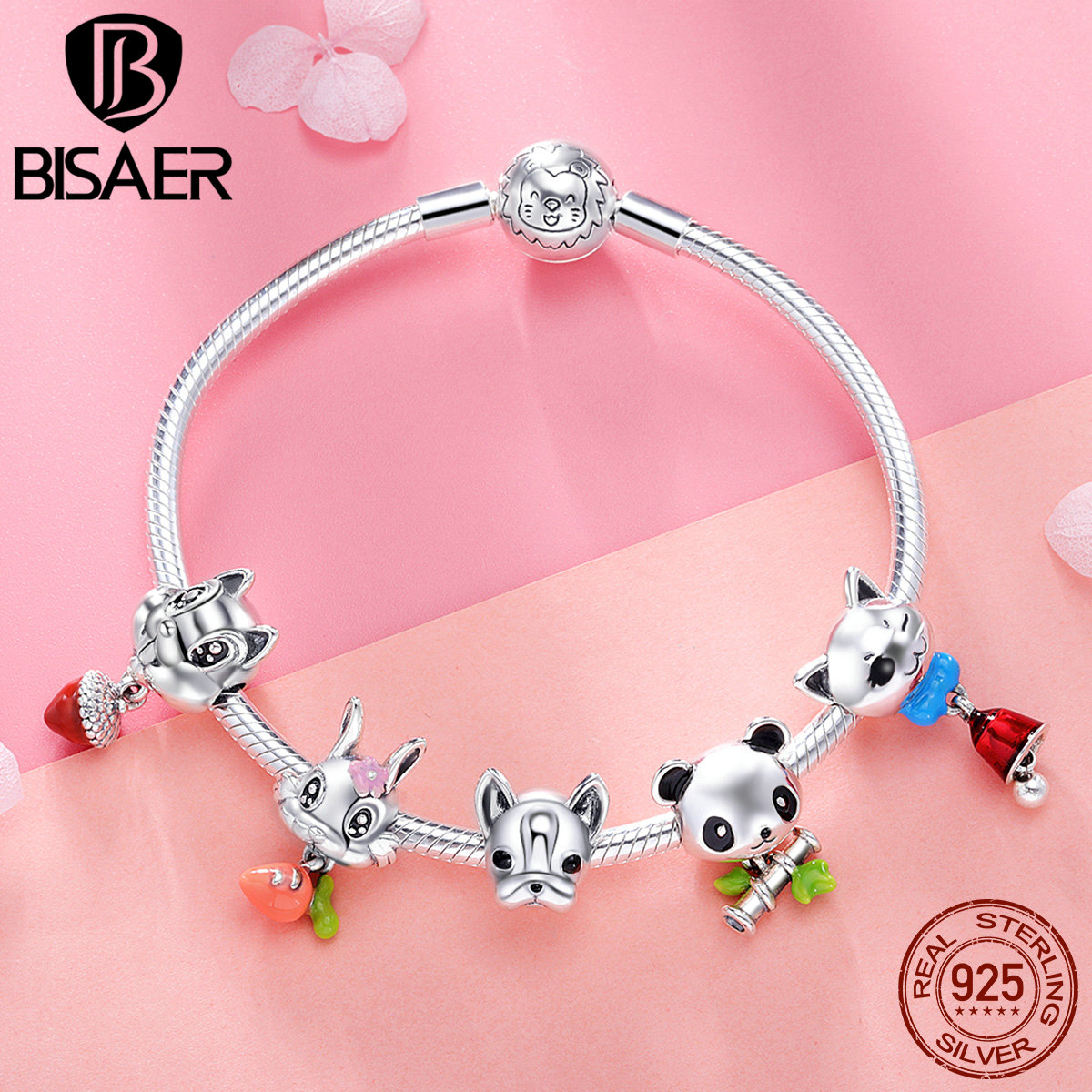925 Sterling Silver Bracelets Cute Animal Dog Bulldog Rabbit Femme Bracelets & Bangles for Women Authentic Silver Jewelry ECB808 a suit of cute rhinestone elephants alloy bracelets for women