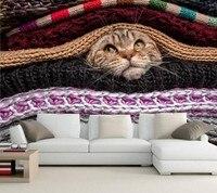 Custom 3d Wall Mural Cat Glance Sweater Animals Wallpaper Papel De Parede Living Room Sofa TV