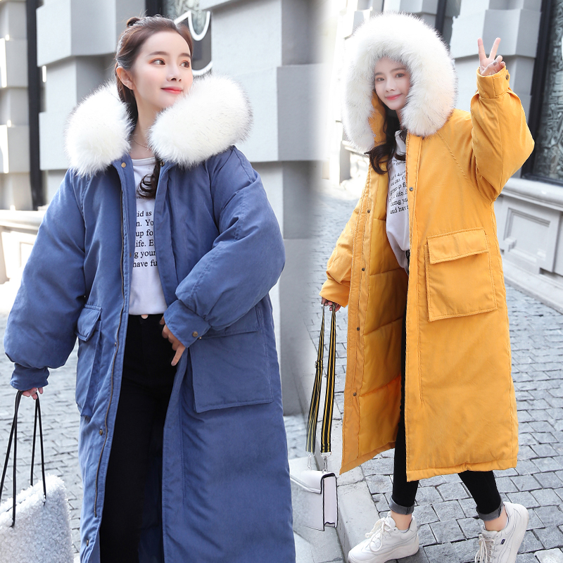 AYUNSUE parki Mujer 2019 długa kurtka zimowa kobiety płaszcz koreański Parka futro kołnierz duży rozmiar ciepłe wyściełane kurtki damskie KJ2471 w Parki od Odzież damska na  Grupa 3