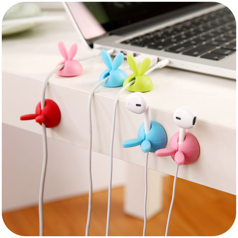 4pcs Winder Wrap Cord Cable Storage Desk Set Manager Wire Clip Organizer Space Saving Desk Accessories Office Supplies