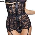 FeelinGirl Sexy Encaje Negro Corsés de Cintura de Cincher Corselet Mujeres Negro Floral Lace Sexy Lingerie Corset Bustier-E