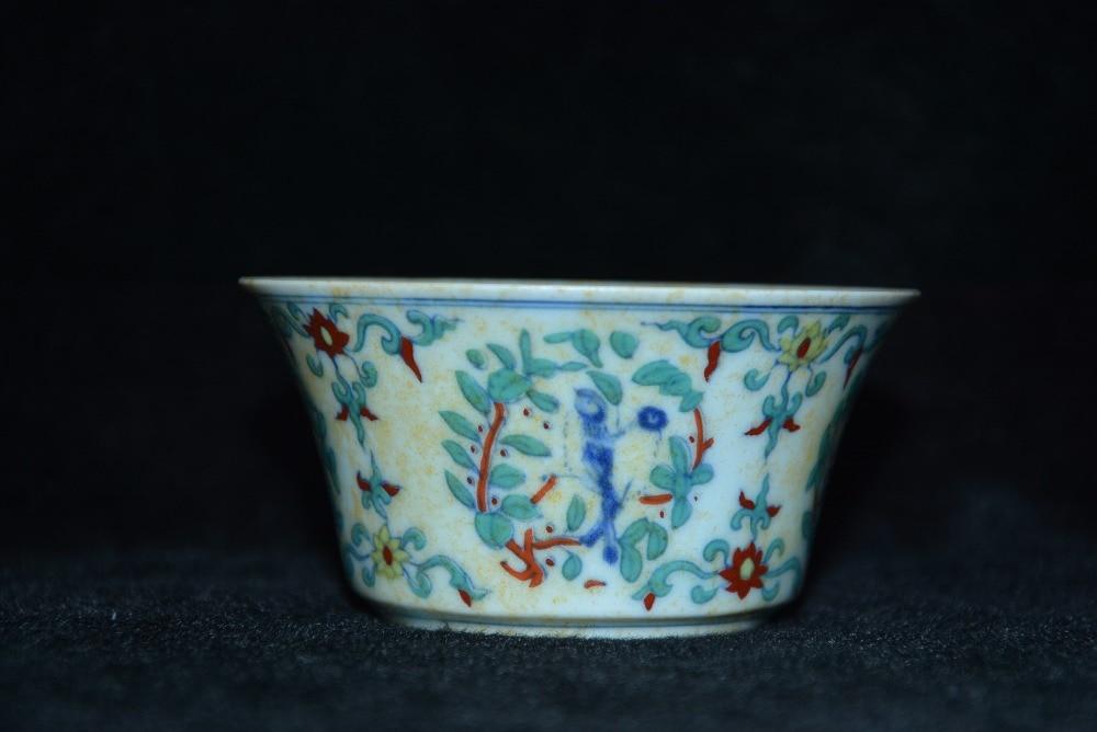 Tasse en porcelaine Antique mingdynastie, tasse de fleurs et d'oiseaux de couleur, artisanat peint à la main, Collection et parure, livraison gratuite