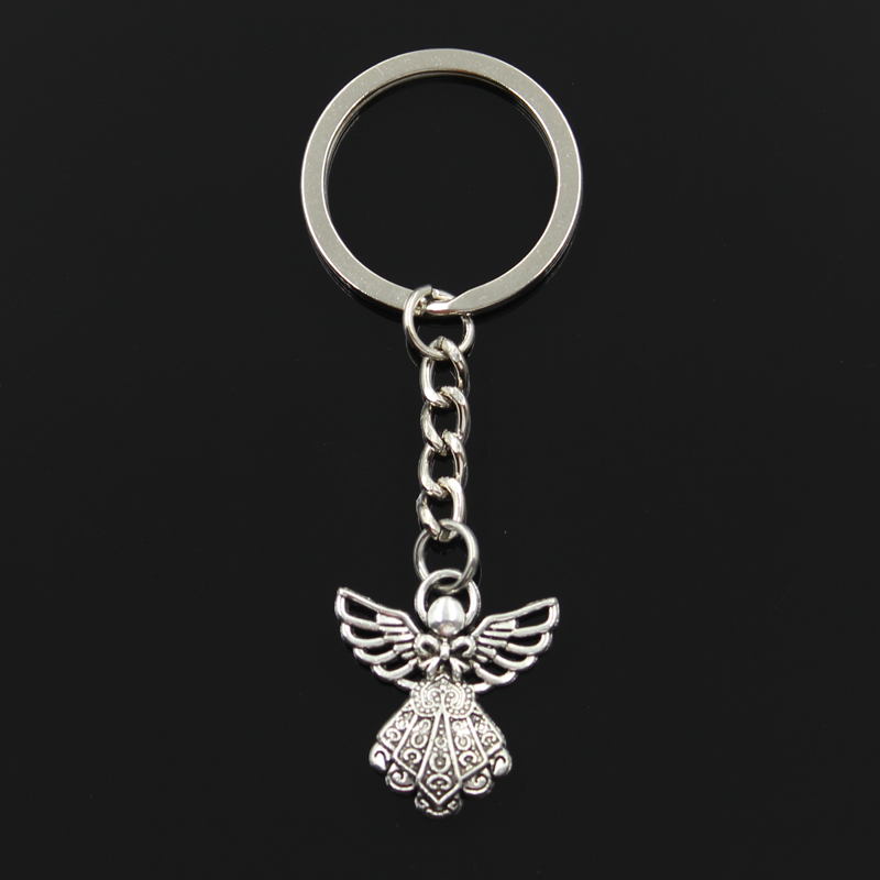 Fashion 30mm Key Ring Metal Key Chain Keychain Jewelry Antique Silver Plated guardian angel 26*23mm Pendant men s toyota honda nissan keychain hollow silver plated genuine leather car keychain key ring metal key chain pendant