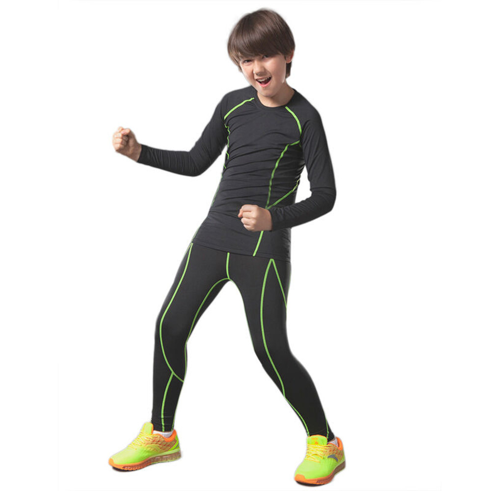 New Children boys compression tights Sport suits short sleeve fitness football baskeball jerseys suits running workout clothes