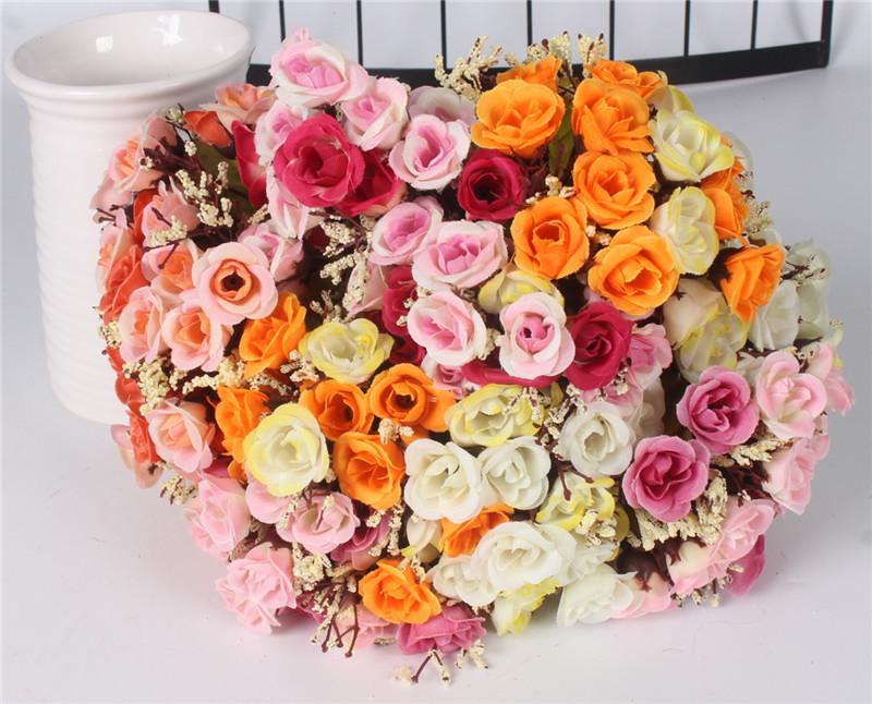 Autumn 15 Heads Silk Roses Bract Artificial Flower For Wedding And Christmas Decor 22