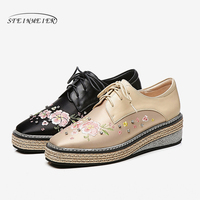 Women's Flats Oxford Embroidery Shoes Woman Genuine Leather platform Sneakers Ladies Brogues Vintage Casual Shoes For Women