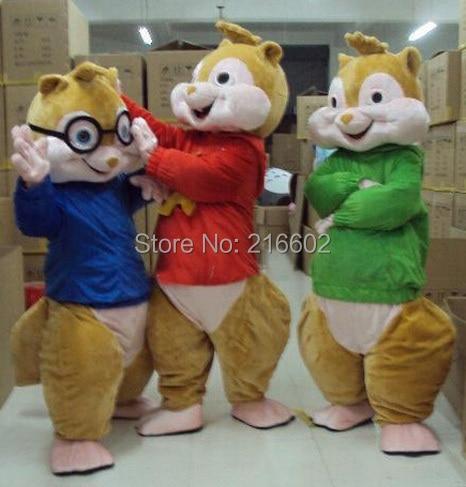 Элвин и бурундуки взрослых Szie маскоты костюм продаж нарядное платье костюмы для косплея Хэллоуина наряд